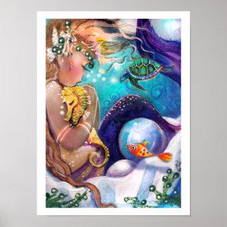 Poster soñoliento de la sirena y del caballo de ma