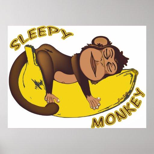 Poster soñoliento del mono