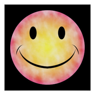Poster sonriente de la cara del teñido anudado póster