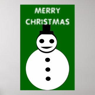 Poster sonriente del muñeco de nieve del navidad póster