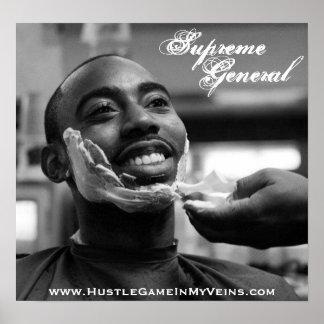 Poster sonriente general supremo del afeitado