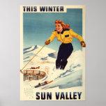 poster sonriente y de esquí de la mujer Rojo-dirig