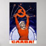 Poster soviético de la propaganda del espacio póster