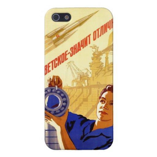 Poster soviético de la propaganda del programa esp iPhone 5 fundas