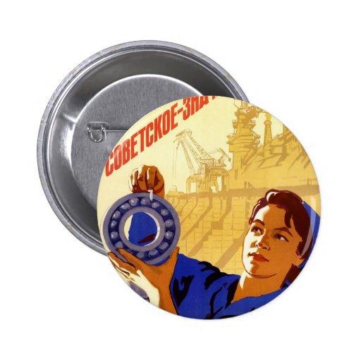 Poster soviético de la propaganda del programa esp pin redondo 5 cm