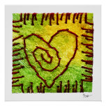 Poster - Stitched Heart - Yellow Green Red