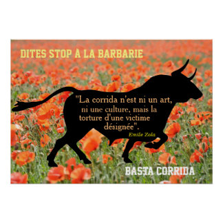 poster stop bullfight with quotation