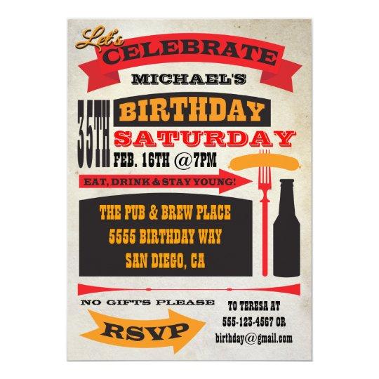 Poster Style 35th Birthday Celebration Invitations