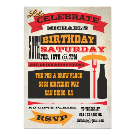 Birthday Celebration Chicago Style: Poster Style 50th Birthday Celebration Invitation