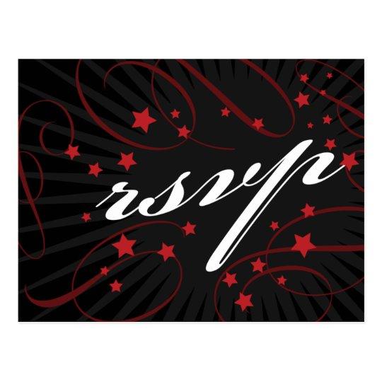 Poster Style Red & Black DIY RSVP postcard