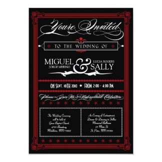 Poster Style Red & Black DIY Wedding Invitation