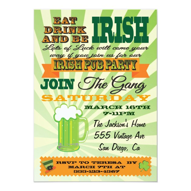 Poster Style St. Patrick's Day Party Pub Party 5x7 Paper Invitation Card