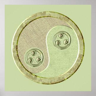 Poster suave de Yin Yang del verde del Celadon