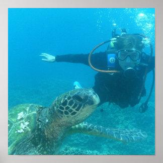 Poster subacuático de la vida del equipo de submar