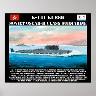 Poster submarino soviético de K-141 Kursk