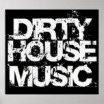 Poster sucio de la música de la casa