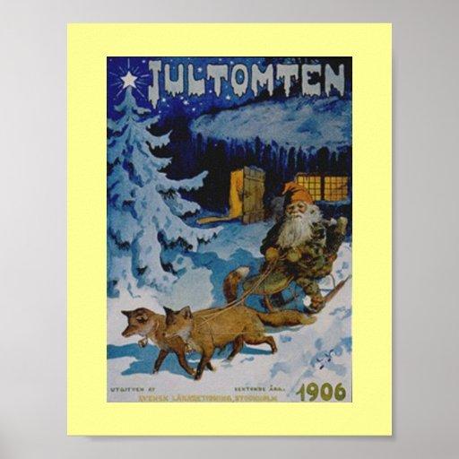 Poster sueco del navidad del vintage 1906