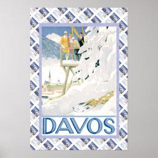 Poster suizo Davos del vintage