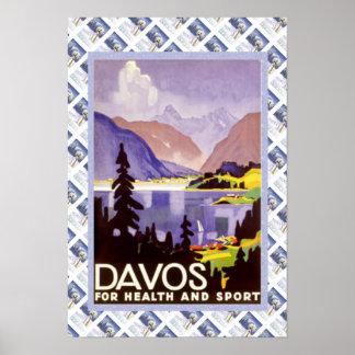 Poster suizo Davos del vintage para la salud y el