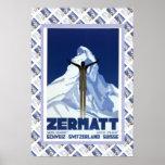 Poster suizo Zermatt del vintage
