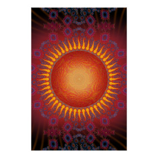 Poster: Sun psicodélico: Diseño espiral del fracta