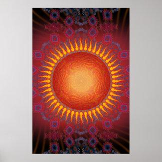 Poster: Sun psicodélico: Diseño espiral del fracta Póster