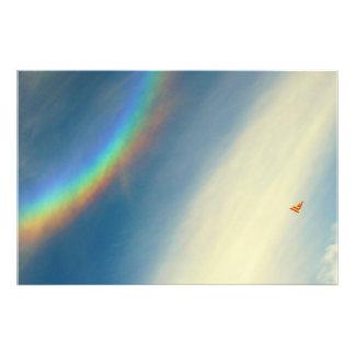 Poster-SunDog Rainbow and Hang Glider Photo Print