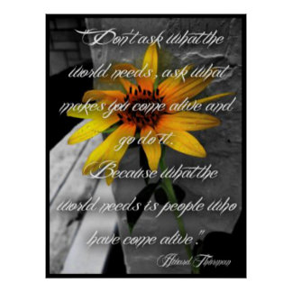 Poster, Sunflower Howard Thurman Quote