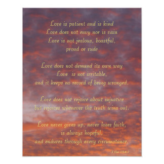 Poster--Sunset Clouds 1 Cor13:4-7 Poster