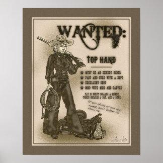 Poster superior de la vaquera de la mano
