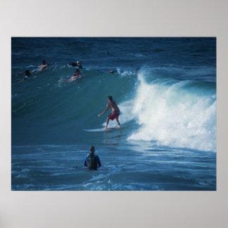 Poster Surfers Rainbow Bay Australia Print