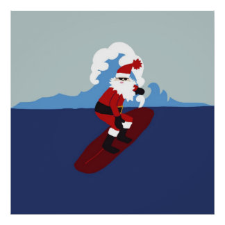 Poster- Surfing Santa! Poster