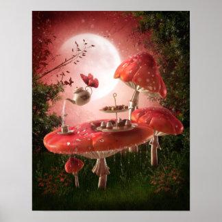 Poster surrealista de la fiesta del té