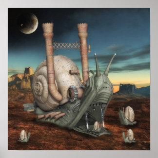 Poster surrealista del caracol de Steampunk