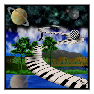 Poster surrealista del teclado