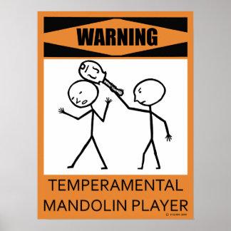 Poster temperamental amonestador del jugador de la