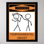Poster temperamental amonestador del oboe