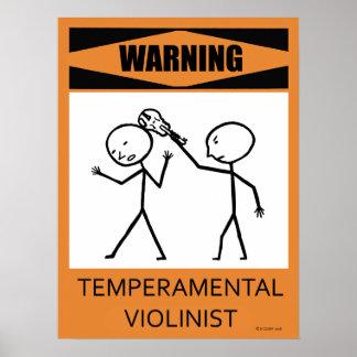 Poster temperamental amonestador del violinista