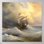 Poster tempestuoso de la pintura de la fragata
