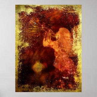 Poster texturizado del ángel del navidad