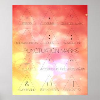 Poster tipográfico moderno de los signos de puntua