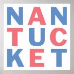 Poster tipográfico rojo y azul #2 de Nantucket