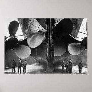 Poster TITÁNICO de los propulsores del RMS Póster