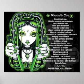 Poster tóxico verde del poema de Vivian Cybergoth