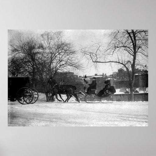 Poster traído por caballo del trineo NYC