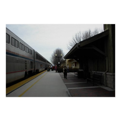 Poster: Train Leaving Paso Robles Station in Winte Poster