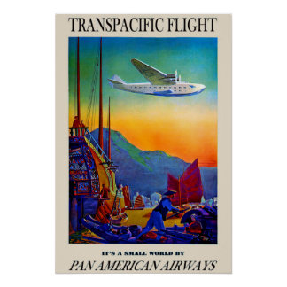 Poster transpacífico del viaje del vintage