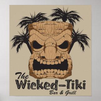 Poster travieso de la barra de Tiki