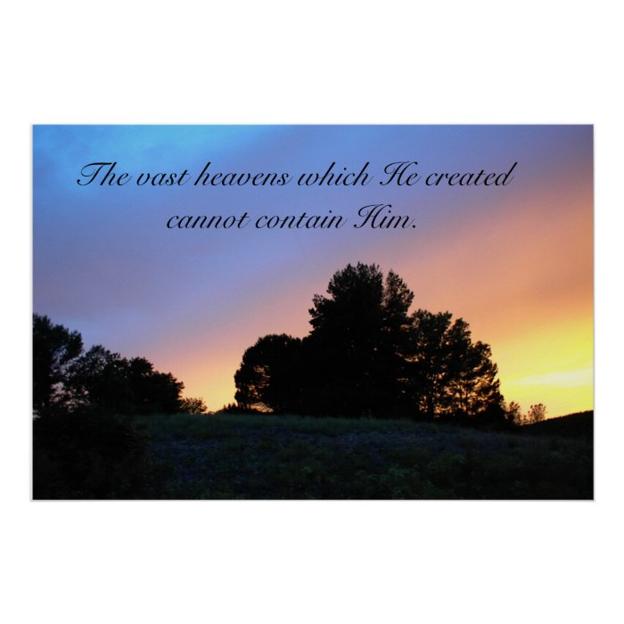 Poster- Trees in sunset with paraphrased Scripture Poster