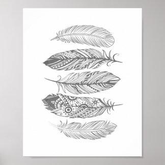 Poster tribal de la impresión de la pluma gris de